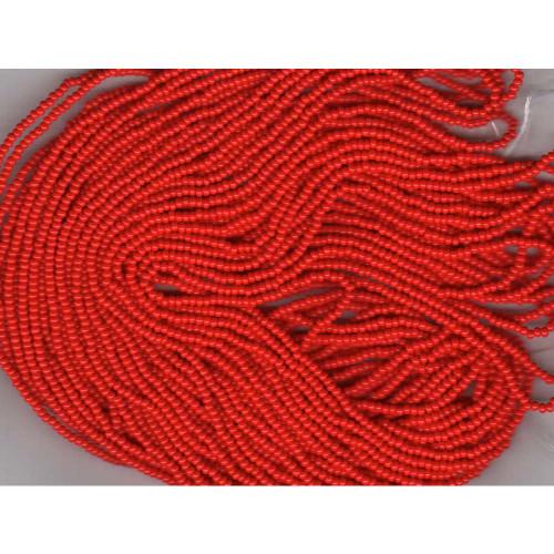 Czech Bright Red Opaque Glass Bead (81): 10/0