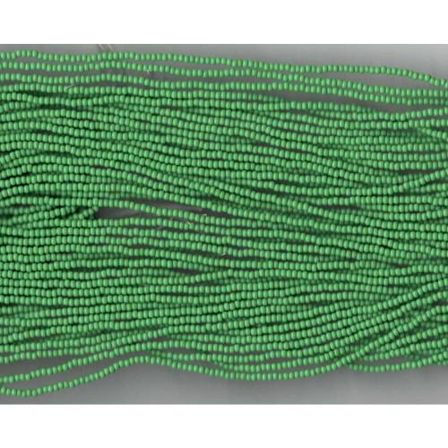 Czech Medium Green Opaque Glass bead (208): 13/0 Cut