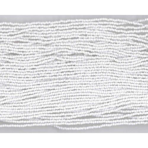 Czech White Opaque Glass Bead (26): 13/0 Cut