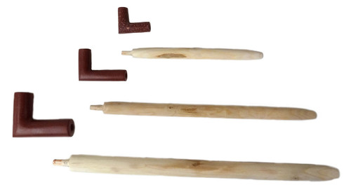 Native American Made L-Shaped Red Pipe Stone Bowl & Stem Pipe Sets
