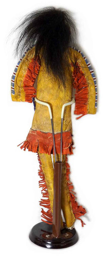 Native American Hand Made Man Doll w Beaded Face - Back View