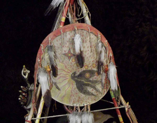 Native American Made: Miniature Hand Made Man's Camp Set - Shield