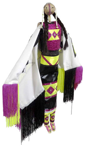 Native American Made Large Fancy Shawl Dancer Doll - Facing Right