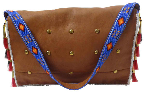 Native American Hand Beaded Large Tipi Bag w Strap: Blue & Yellow - Back View