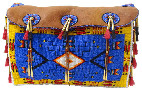 Native American Hand Beaded Large Tipi Bag w Strap: Blue & Yellow