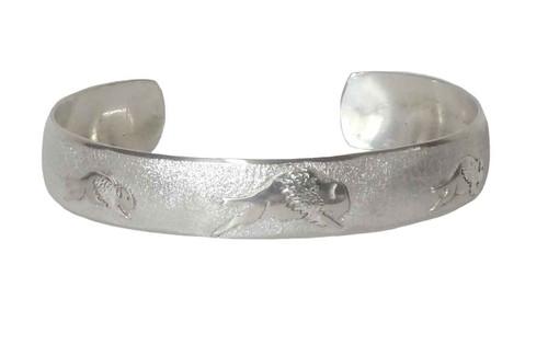 "Native American Made ""Tatanka"" Sterling Silver Bracelet (small)"