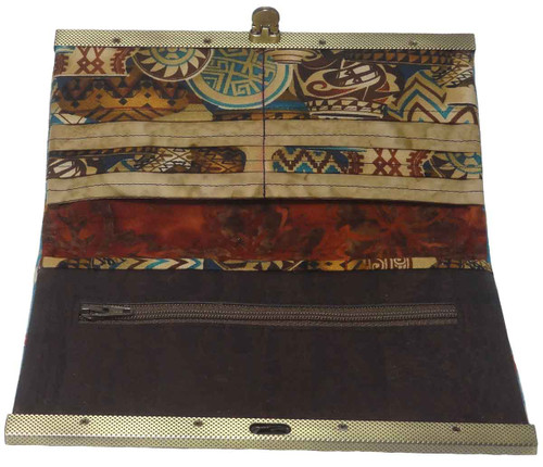 Native American Clutch Wallet: Turquoise - Inside View