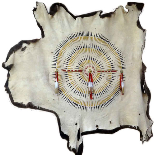 Native American Hand Painted Buffalo Robe: Feather Design