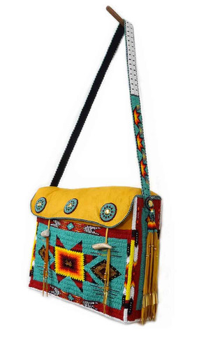 Native American Hand Beaded Tipi Bag: Turquoise Green w Geometric Pattern - Side View