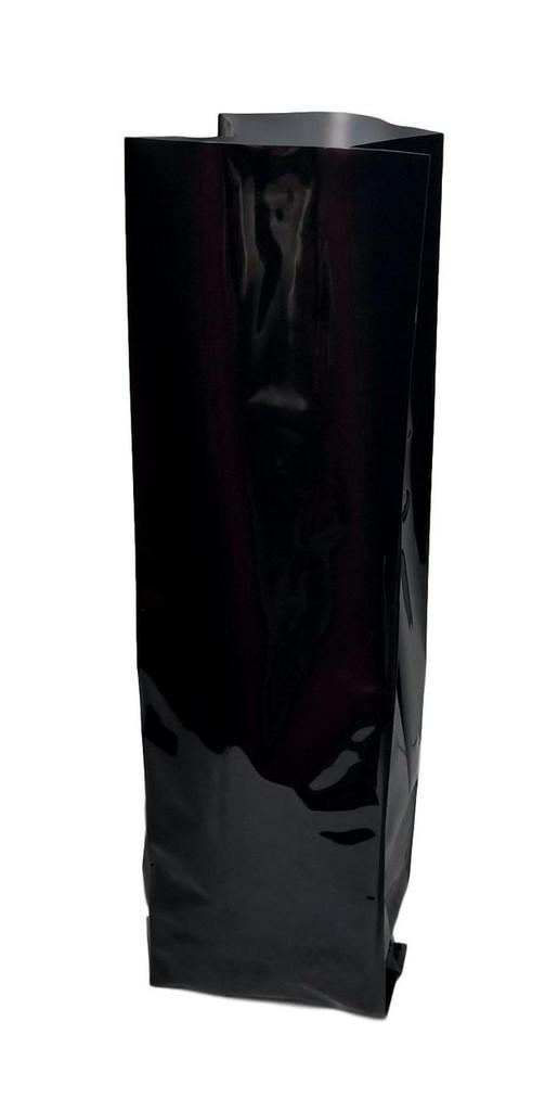 "3.375""x2.5""x13"" Coffee Bag Black Glossy 5 mil Mylar Bag with Valve (Case of 600)"