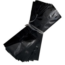 "3.375""x2.5""x13"" Coffee Bag Black Glossy 5 mil Mylar Bag with Valve (Case of 600)"