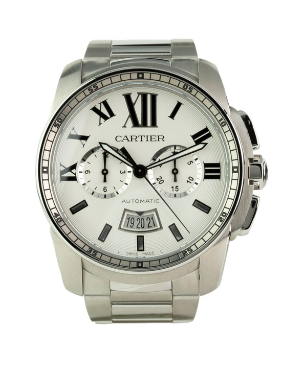 Calibre de Cartier Chronograph in Stainless Steel on Bracelet W7100045 Buy Pre-owend / used watches at unbelievable prices at SecondTime.