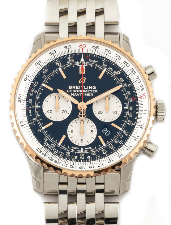 Breitling Navitimer B01 46mm in Stainless Steel with 18k Rose Gold Bezel Reference - UB0127211B1A1 Available at SecondTime.Buy Pre-owend / used watches at unbelievable prices.
