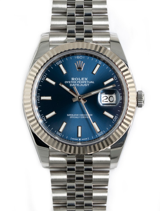 Rolex Datejust 41mm 126334  Blue Stainless Steel Jubilee available at secondTime.com