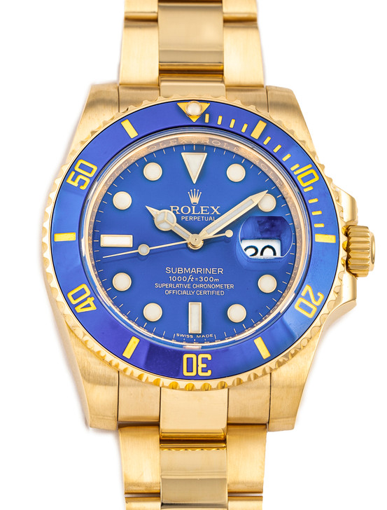 Rolex Oyster Perpetual 18k yellow gold submariner – Rare (discontinued) Smurf Blue Dial – Ref 16618 (M series) available at SecondTime.com