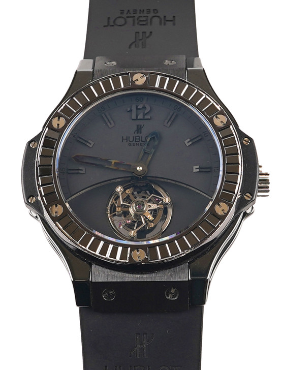 Hublot solo Bang Tourbillon Sapphire Carat Ref# 305.cm.134.rx available at secondTime.com