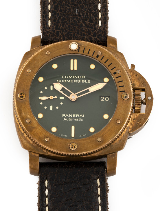 Panerai Luminor Submersible Bronzo with Green Dial - PAM382 available at secondTime.com