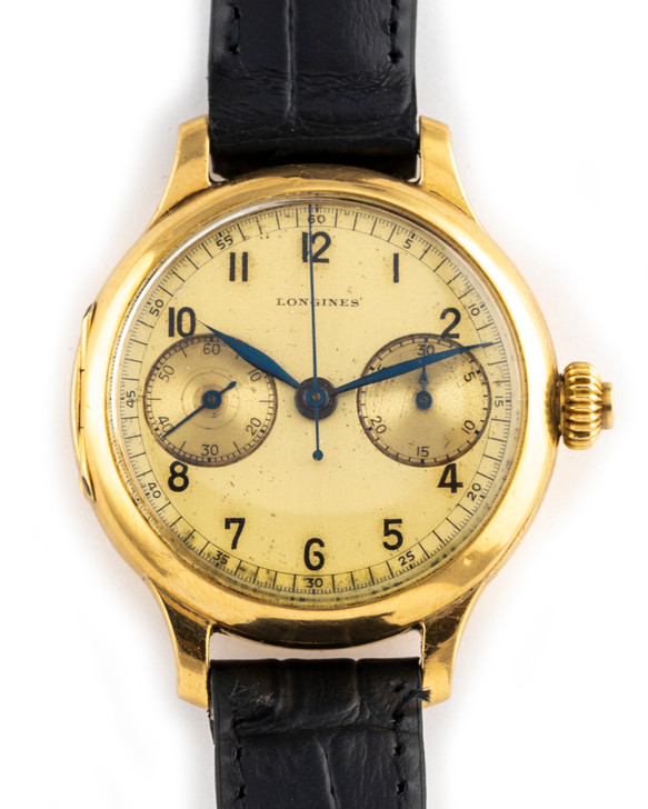 Longines Vintage 1930's Monopusher Chronograph CAL13.33 – 35mm 18k available at SecondTime.com