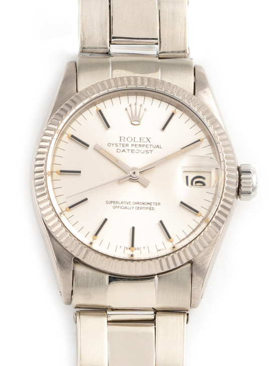 Rolex 'Boy Size' Oyster Perepetual Datejust 18k White Gold Flex Bracelet available at Secondtime.com