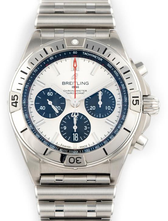 Breitling Mens Chronomat B01 42 Silver Chronograph Men's Watch AB0134101G1A1