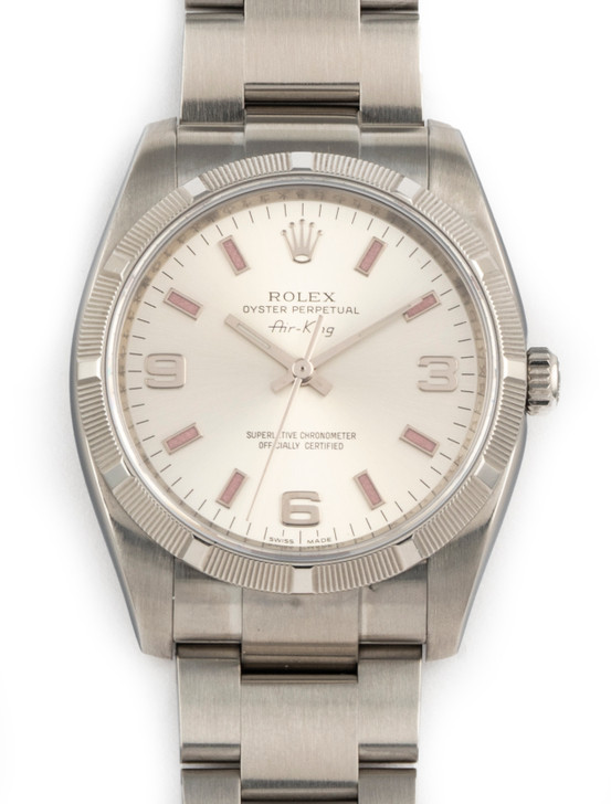 Rolex  Air-King 34mm Stainless Steel 114210 Pink Numbers