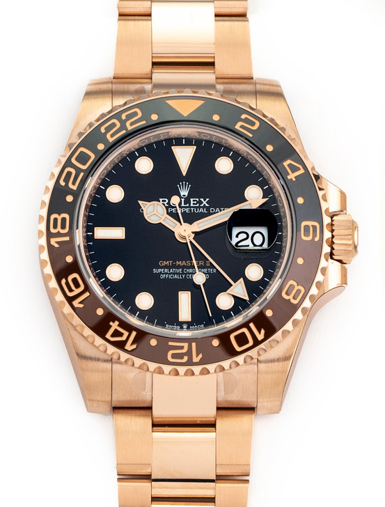 Rolex GMT-Master II Root Beer 18K Rose Gold 40mm Watch 126715 CHNR NEW April 21
