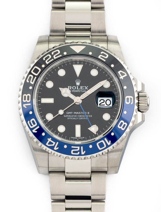 Rolex GMT-Master II Batman 40mm Steel Black n Blue Oyster Bracelet 116710 BLNR