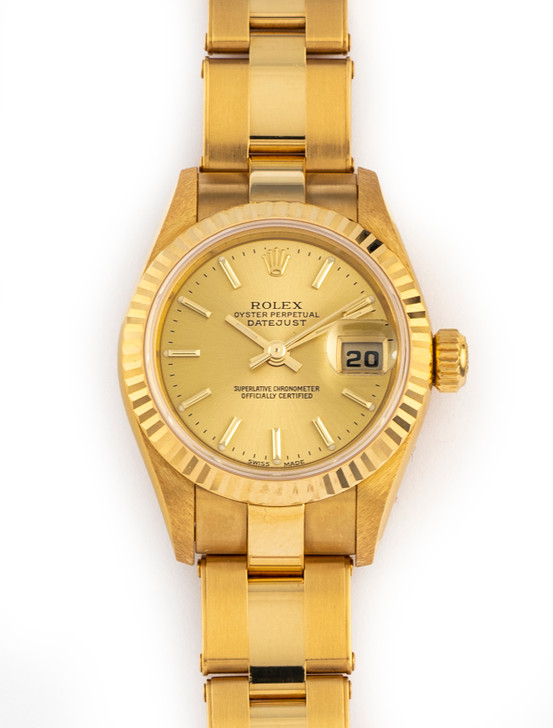 Rolex Ladies Datejust 26mm 18k Yellow Gold Oyster Rivet Bracelet 79178