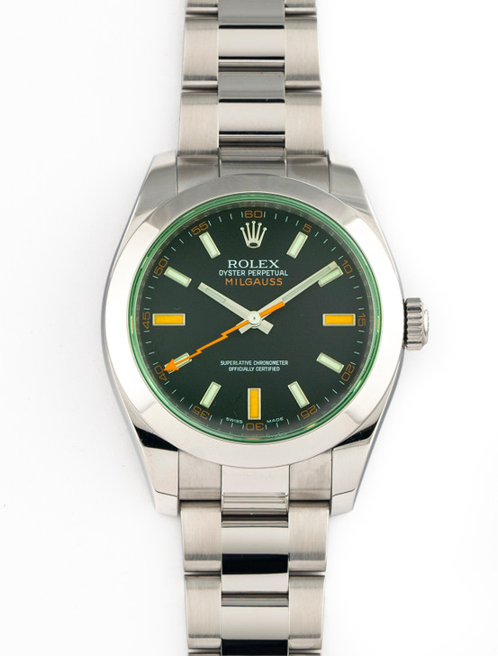 Rolex Milgauss 116400 V Green Crystal Black Dial Stainless Steel 40mm COMPLETE