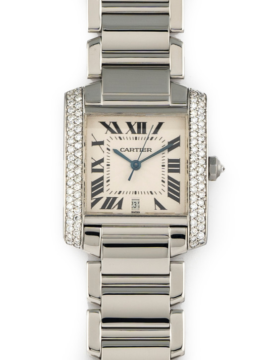 Cartier Tank Francaise Automatic Large Stainless Steel Diamond Bezel 2302