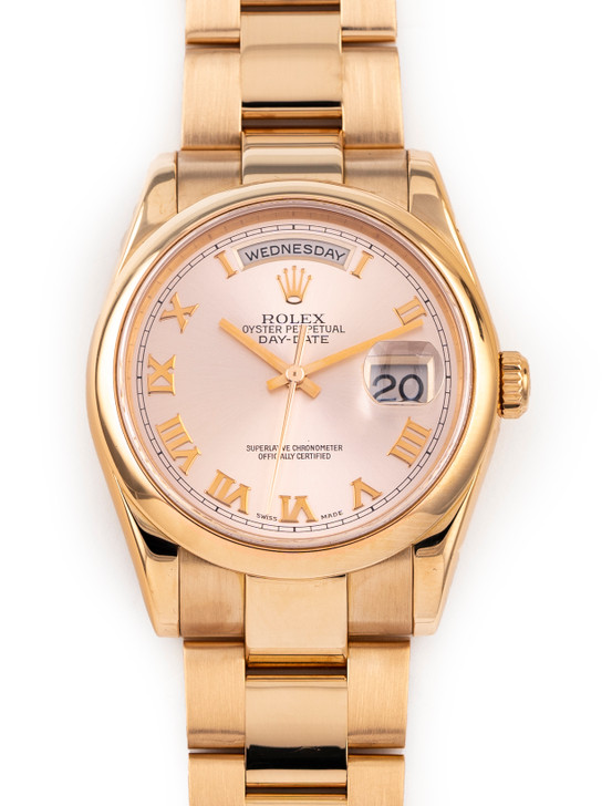 Rolex Day Date Presidential 118235 18k Rose Gold Oyster Rose Roman Dial 36MM