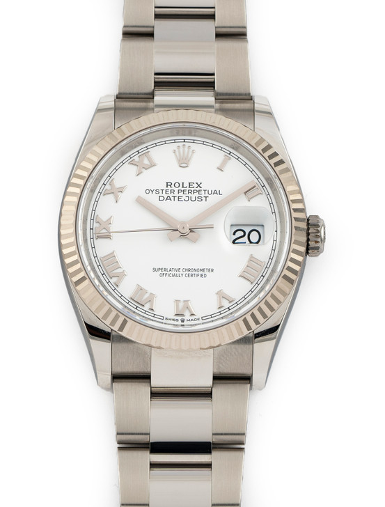 Rolex Datejust 36mm Steel White Roman Dial 126234 Oyster Bracelet 18k Fluted
