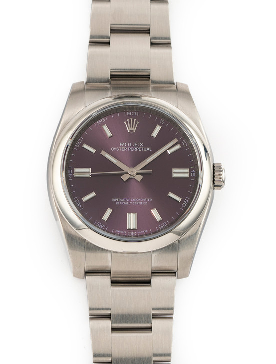 Rolex Oyster Perpetual 36mm Stainless Steel 116000 Purple Grape Dial Complete