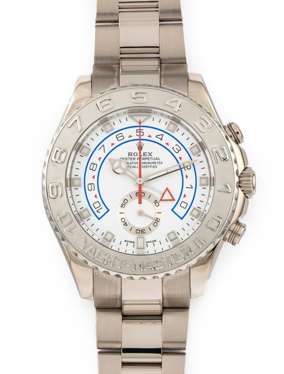 Rolex Yacht-Master II Watch 44mm 18K White Gold 116689 2021 WG Mercedes Hands