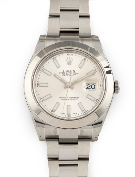 Rolex DateJust II Stainless Steel Silver Stick Dial 41mm Ref 116300 Brand New