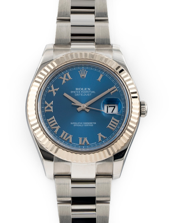 Rolex Datejust II Stainless Steel White Gold Blue Roman Dial  116334