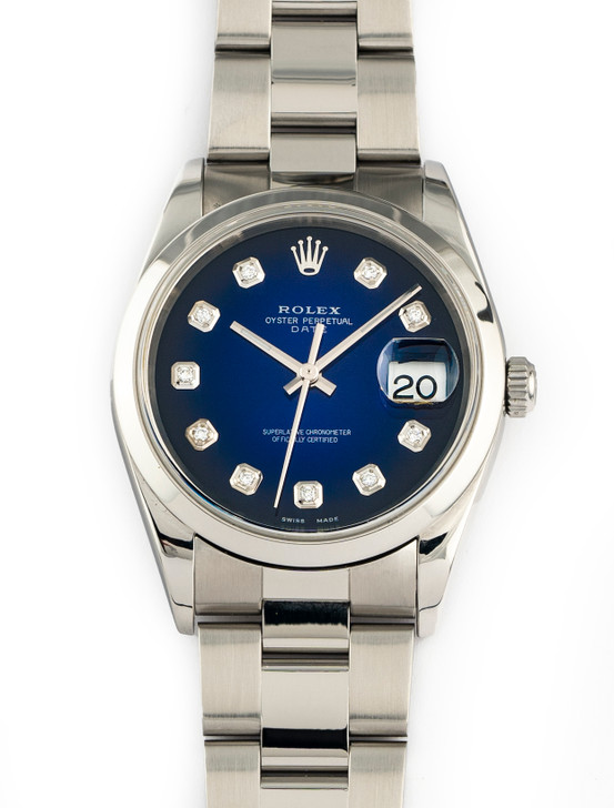Rolex Oyster Perpetual Date 15200 Blue Diamond Dial 34MM