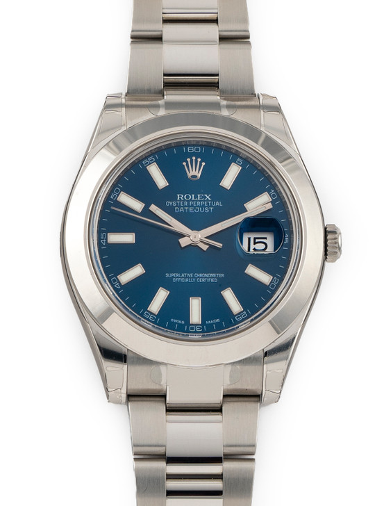 Rolex DateJust II Stainless Steel Blue Stick Dial 41mm Ref 116300