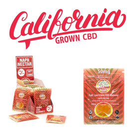 California Grown 50mg Full Spectrum CBD Gummies - Display of 16 Packs