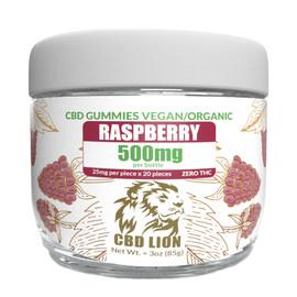 CBD Lion 500mg Raspberry Organic CBD Gummies - Pack of 20