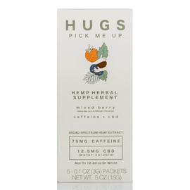 Hugs 12.5mg Pick Me Up Hemp Herbal Drink Mix 3G - Pack of 5 Packets - Mixed Berry