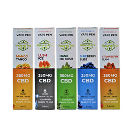 Natures Tru 350mg 280mAh Disposable CBD Vape Pen 1.4ML - Single - Mango Tango - Lush Ice - Dank OG Kush - Blueberry Bliss - Strawberry Slam