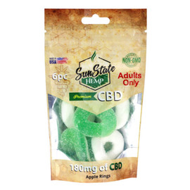 Sun State Hemp 180mg Premium CBD Gummy Apple Rings