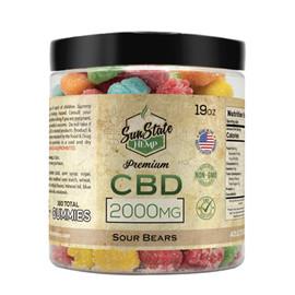 Sun State Hemp 2000mg Premium Sour CBD Gummy Bears