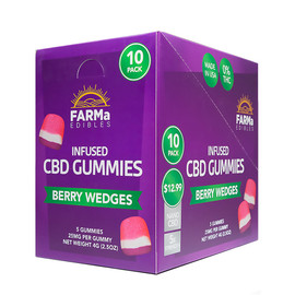 FARMa Edibles 125mg Infused CBD Gummies - Display of 10 Packs