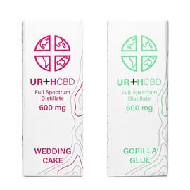 Urth CBD 600mg Full Spectrum CBD Distillate Cartridge - Wedding Cake, Gorilla Glue
