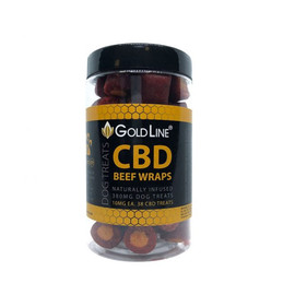 GoldLine Naturally Infused CBD Dog Treats 10mg - Beef Wraps  - 38 pieces