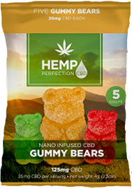 Hemp Perfection CBD 125mg Gummies Display of 10