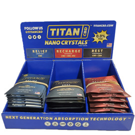Titan CBD 20mg Broad Spectrum NANO Crystal Delivery System - Display of 45 Packets - Recharge,Relief,Rest