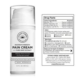 Stono Creek 930MG CBD Hemp Extract Pain Cream Max Strength 3.4oz